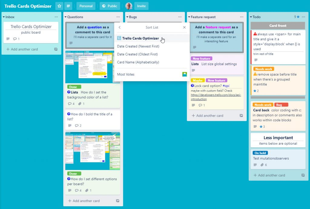 TCO list sorting on due date, priority, header and title can be enabled or disabled from the standard Trello sort menu
